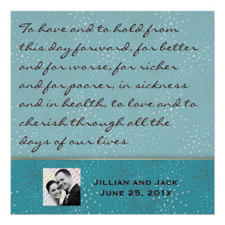 Teal Galaxy WEDDING Vows Display Poster