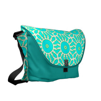 Teal gears courier bag
