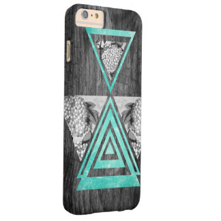 Teal geometric floral wood barely there iPhone 6 plus case