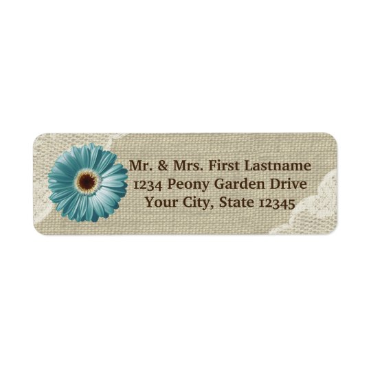 Teal Gerbera Daisy and Lace