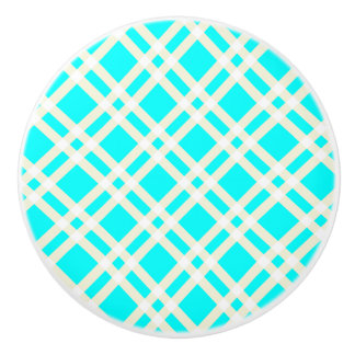 Teal Gingham Pattern Ceramic Knob