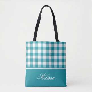 Teal Gingham | Personalized Tote Bag