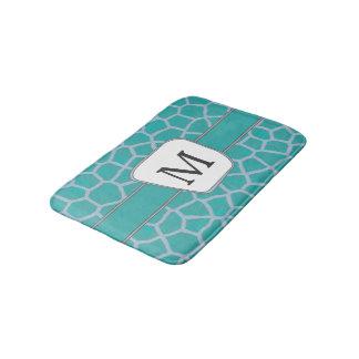 Teal Giraffe Print Custom Monogram Bath Mat