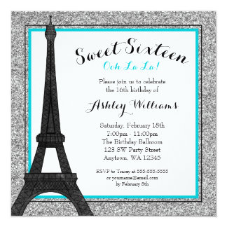 Teal Glam Paris Themed Faux Glitter Sweet 16 Card