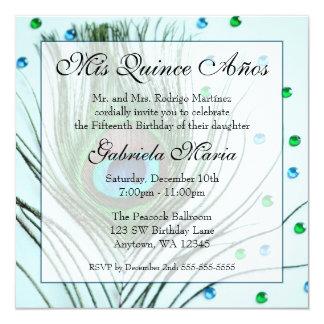 """Teal Glam Peacock Feather Quinceanera Birthday 5.25"""" Square Invitation Card"""