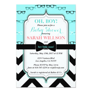 Teal Glasses & Striped Baby Boy Shower Invitation