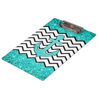 Teal glitter anchor and chevron clipboard