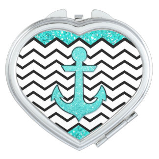 Teal glitter anchor and chevron compact mirror