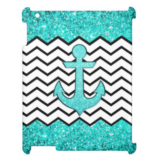 Teal glitter anchor and chevron iPad cover