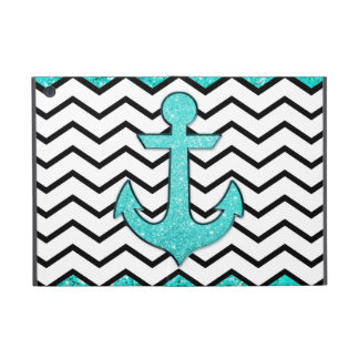 Teal glitter anchor and chevron iPad mini cover