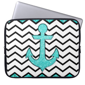 Teal glitter anchor and chevron laptop sleeve
