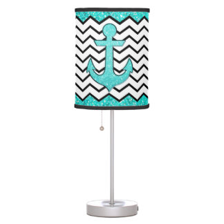 Teal glitter anchor and chevron table lamp