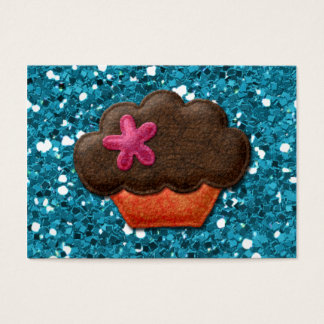 Teal Glitter and Cupcake Business Card