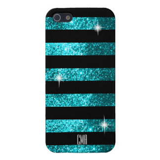 Teal Glitter & Black Stripes | DIY Monogram iPhone 5/5S Cover