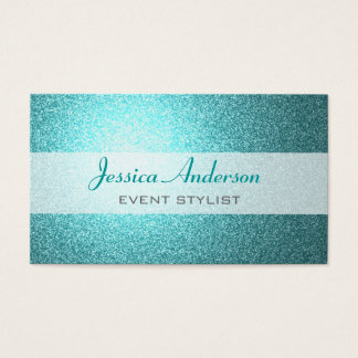 Teal Glitter Business Cards