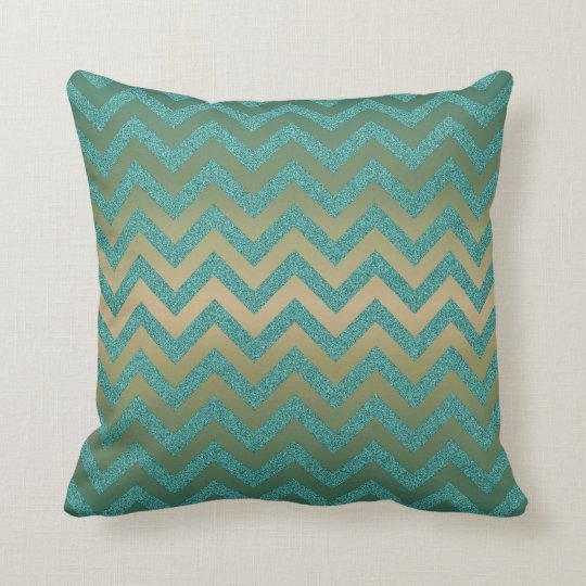 Teal glitter chevron pillow