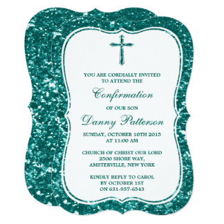 Teal Glitter Cross Holy Communion Or Confirmation Card