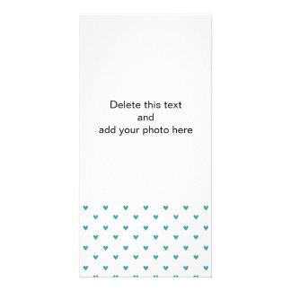 Teal Glitter Hearts Pattern Customized Photo Card