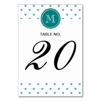 Teal Glitter Hearts with Monogram Table Cards