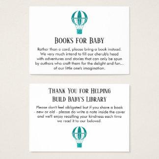 Teal Glitter Hot Air Balloon Book Request Cards