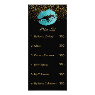 Teal Glitter Lip Price List Rack Card