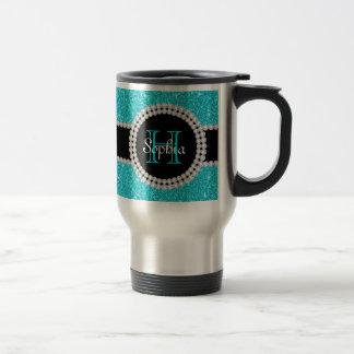 Teal Glitter Monogrammed Travel Coffee Mug