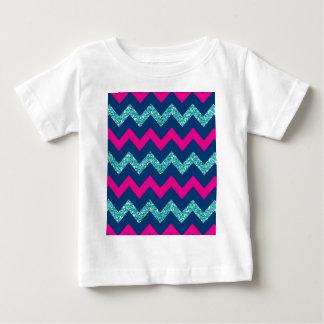 Teal Glitter Nautical Chevron Baby T-Shirt