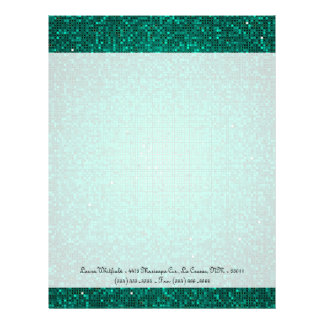 Teal Glitter Sequin Disco Letterhead Stationery
