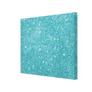 Teal Glitter Sparkles Canvas Print