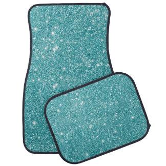 Teal Glitter Sparkles Car Mat