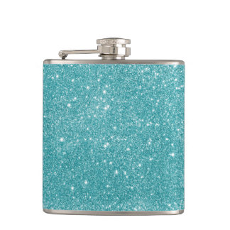 Teal Glitter Sparkles Hip Flask