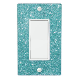 Teal Glitter Sparkles Light Switch Cover