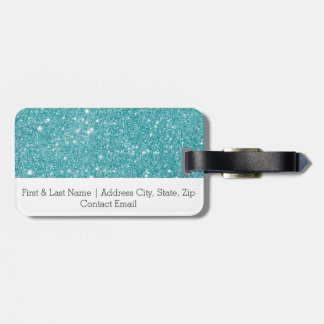 Teal Glitter Sparkles Luggage Tag