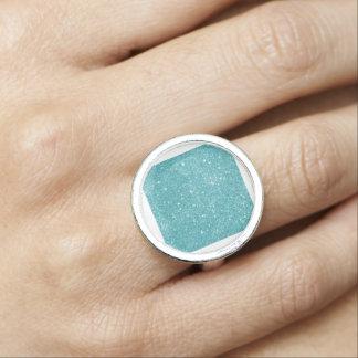 Teal Glitter Sparkles Ring