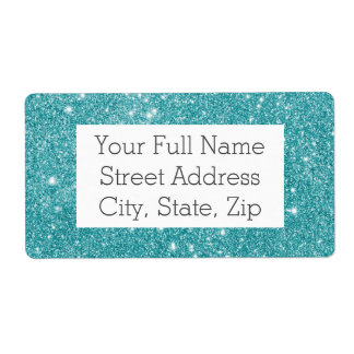 Teal Glitter Sparkles Shipping Label