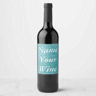 Teal Glitter Sparkles Wine Label