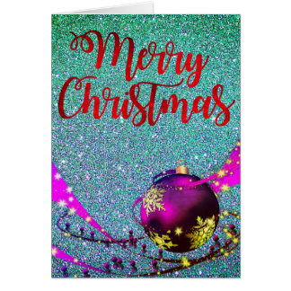 Teal Glittery Christmas Card with warm Wishes