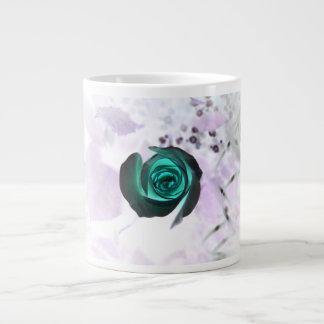 teal glowing rose neat flower image design extra large mugs