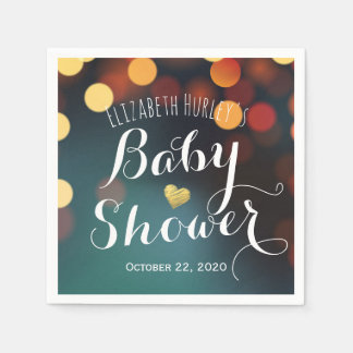 Teal Gold Bokeh Glitter String Lights Baby Shower Paper Napkins