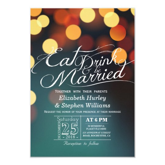 Teal Gold Bokeh Light EAT Drink Be Married Wedding Card