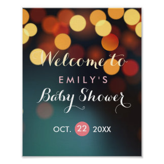 Teal Gold Bokeh Lights Baby Shower Welcome Sign