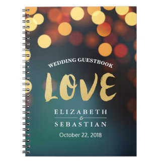 Teal Gold Bokeh String Lights Wedding Guestbook Notebooks