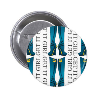Teal/Gold Boots. Get it Girl 2 Inch Round Button