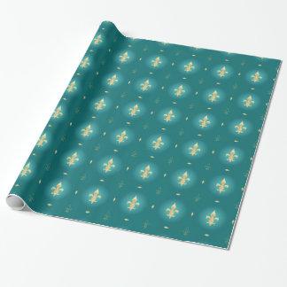 Teal & Gold Fleur De Lis Green Wrapping Paper