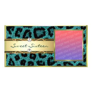 Teal Gold Leapord Pattern Card