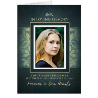 Teal & Gold Loving Memorial Service Photo Invite