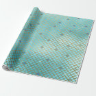 Teal Gold Mermaid Birthday Party Girl Wrapping Paper