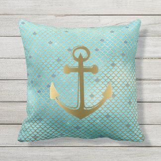Teal Gold Nautical Anchor Mermaid Scales Pattern Outdoor Pillow