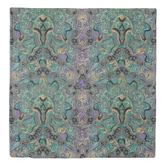 Teal Gold Purple Black Mandala Duvet Cover
