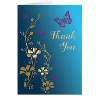 Teal Gold Purple Floral Thank You Card